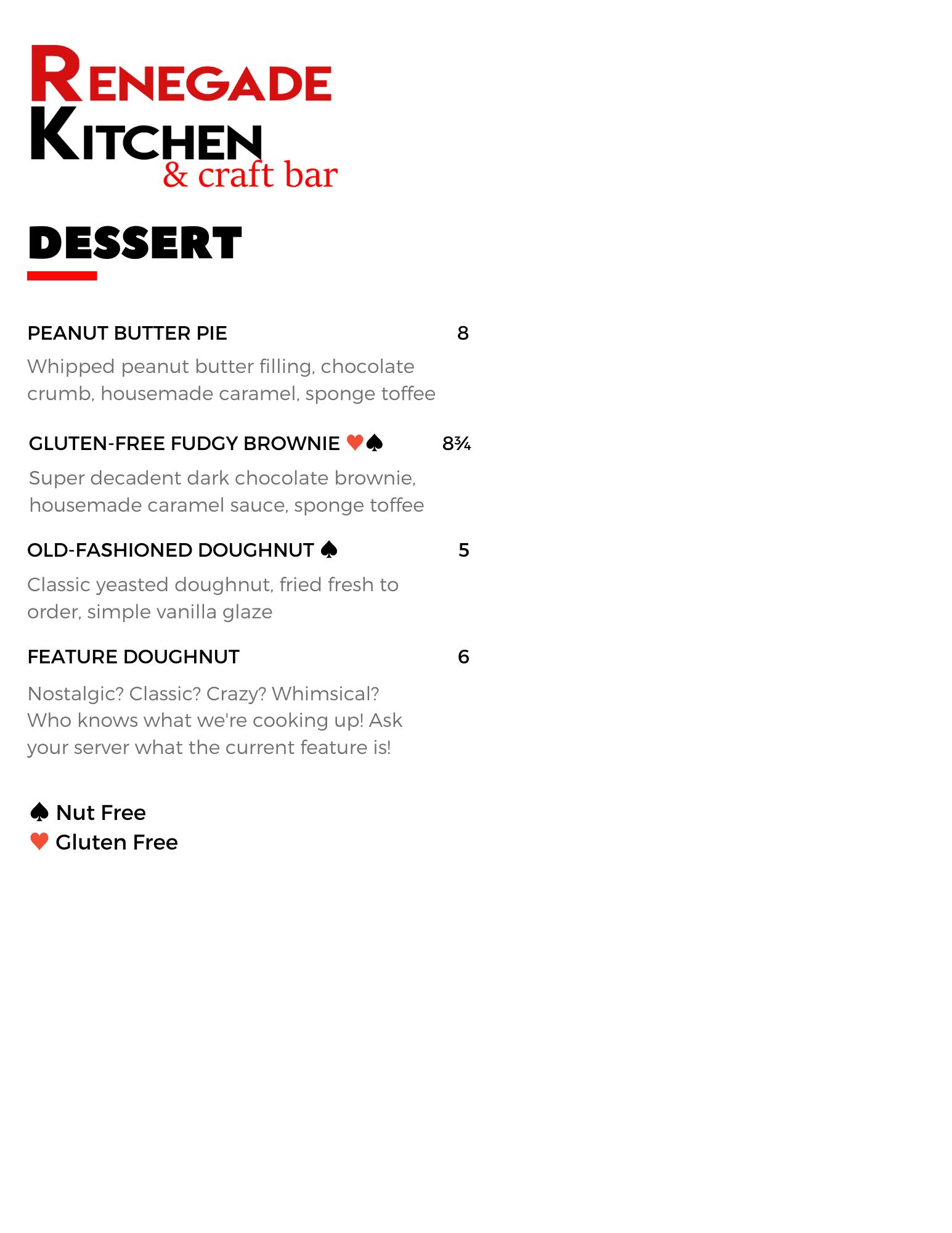 Spring 2021 Dessert Menu